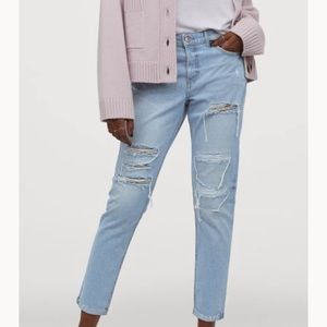 H&M low rise distressed bf jeans